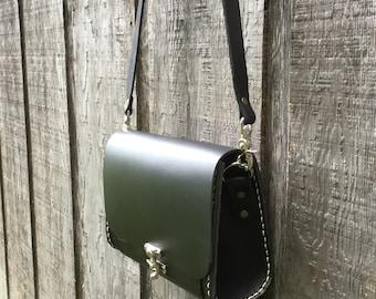 leather satchel or messenger bag