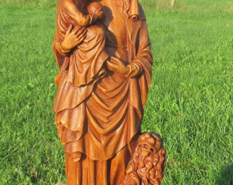 Holy Mother Virgin Mary Madonna Infant Child Terra cotta Statue Flanders Gothic