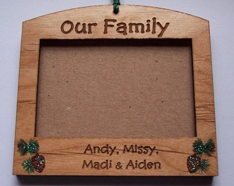 Our Family photo frame Christmas ornament
