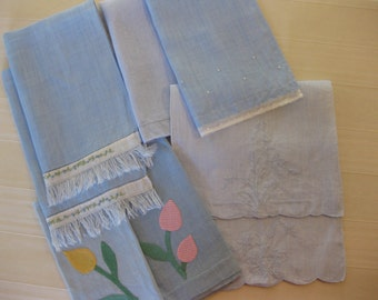 Vintage Blue Linens Lot of Eight