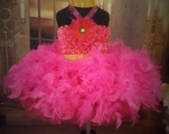 Hot Pink feather Tutu dress, flower girl,pageant, ballerina,birthday, wedding, theme wear,glitz,dance costume 0-8years