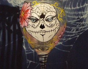 hand painted wine glass, sugar skull glass, Halloween glass, day of the dead, sugar skull wine glass, spider web