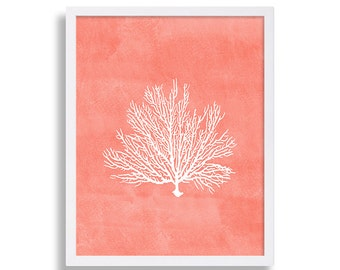 Coral Colored Wall Decor coral wall art prints coral color decor coral prints water