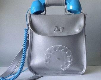 Silver Factory telephone handbag /fake silver leather/pop phone/bag/fashion/unique/Edie Sedgwick/Lady Gaga/retro/vintage