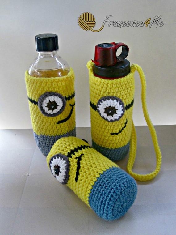 Crochet Minion Water Bottle Holder Lanyard Back To School