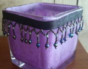 Purple tea light holder