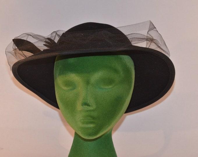 Vintage Estate Black Doeskin Wool Felt Epnie Geo. W. Bollman Co. Wide Brim Veil Hat