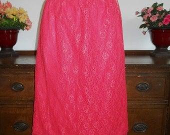 Vintage 1950's ~ All Lace Over Nylon Scarlet Red Half Slip ~ Pin Up Girl VLV ~ Size Medium