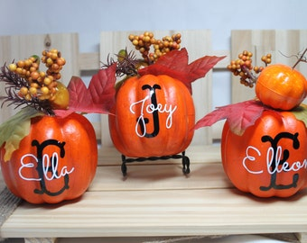 Personalized Pumpkins. Mini Pumpkins. Monogram and Kids Name. Fun Fall or Thanksgiving Decor.