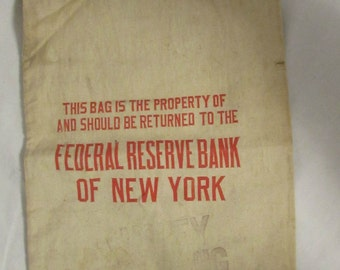 Coin Bag, Federal Reserve Bank of N.Y. (Retired), Canvas, 1970's