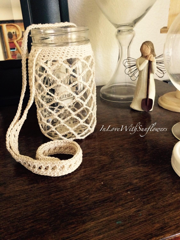 mason jar cover quart size crochet mason jar cover drink. Black Bedroom Furniture Sets. Home Design Ideas