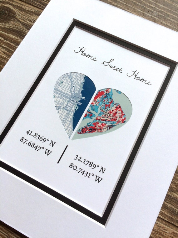 Wedding Gift Ideas For Distant Friends : ... Wedding Gift- Map Heart Print, Long Distance Relationship Gift -Wall