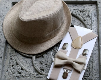 Kids Boy's Fedora tan Hat,Suspenders,photo prop, 2T,3T,4T,5T,Ring bearer,NO Bow tie included.