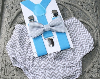 1st Birthday kids,boy bloomers,bow tie blue gray,Suspenders,chevron,6mo12mo,-2T
