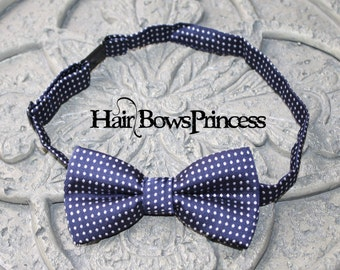Adorable Boys Baby Toddler navy Blue Polkadot Bow Tie Adjustable Wedding Ring Bearer