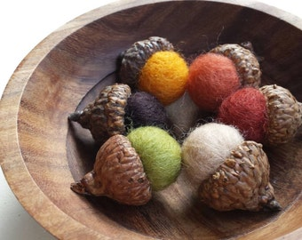Needle Felted Woodland Acorns- Autumn Leaf Tones (Home Decor)