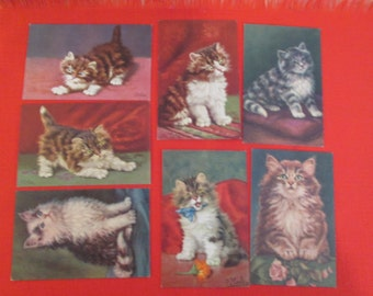 Seven Vintage Kitten Postcards by D. Merlin