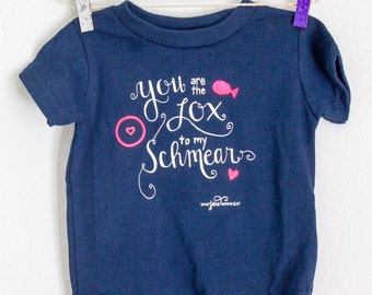 You Are the Lox to My Schmear Jewish Baby Onesie- Neon Pink, Navy and White