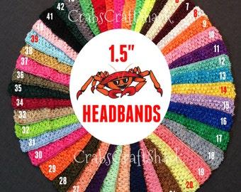1.5 Inch TEAL Crochet Headband