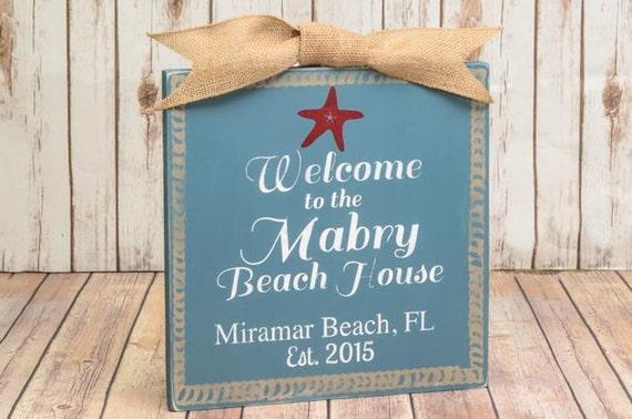 Custom beach house sign beach decor beach signs by for Personalized home decor