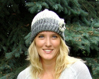 Hand knit gray and white knit hat, Knit Hat, Beanie, Winter Hat