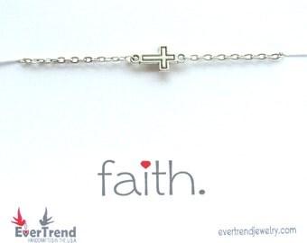Faith Cross Bracelet, All-in-one-gift, Dainty Sideways Cross Bracelet, Graduation Gift, Red Box Gift, Inspirational Gift