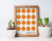 clementines orange citrus fruit art, fruit art print, oranges art, kitchen art print, orange, green, 8x10