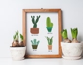 cactus cacti succulent art print, southwest art, cactus illustration, succulent illustration, 8x10