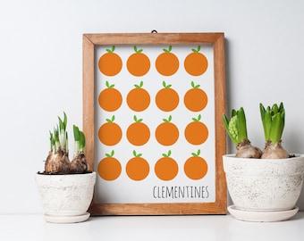 clementines orange citrus fruit art, fruit art print, oranges art, kitchen art print, orange, green, 8x10