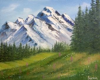 "Original mountain landscape oil painting HIGHLANDS 11 x 14"""