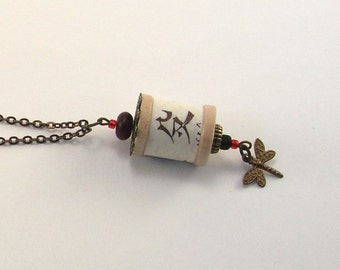 SALE! Asian Inspired Dragonfly and Spool Necklace
