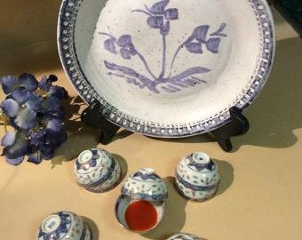 Vintage Flower Plate/Vintage Pottery Plate/Kennedy Pottery Plates/Pottery Platters/Vintage Kitchen