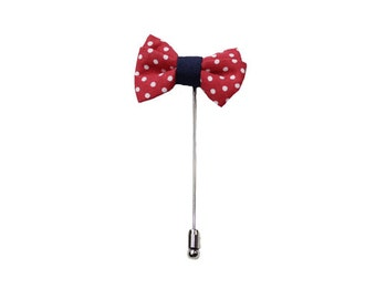 Bow Tie Lapel Pin - Burgundy & Navy