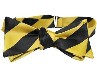 Black & Yellow Striped Bow Tie