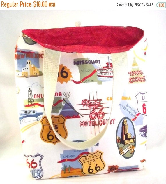 Clearance SALE, Tote Bag, Handmade, Retro Route 66,  Reusable Eco-Friendly Bag, Groceries, Beach, Sports, Gym, School