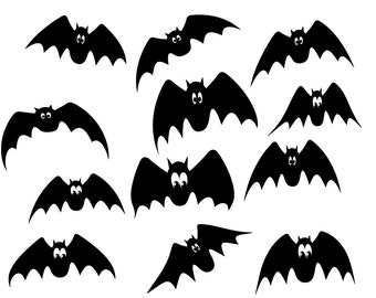 Halloween clipart, black bats clipart, cute bats clipart, digital bats, Commercial Use, Instant Download