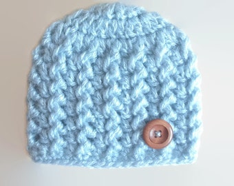 Newborn boy hat, mohair baby hat, blue baby boy hat, button baby hat, baby boy hat, crochet baby hat, crochet newborn hat, baby boy beanie