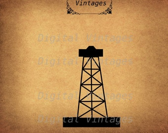 Oil Drill Well Rig Icon Silhouette Vintage Antique Digital Image Graphic Download Printable Clip Art Prints  300dpi svg jpg png