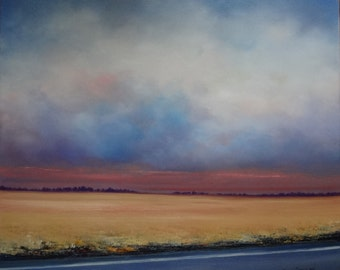 Oil Painting Midwest Landscape Stormy Sky Painting by Faith Patterson