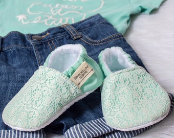Mint and Lace Overlay Baby Girl Shoes Mint Baby Girl Shoes Blue Baby Girl Shoes Baby Girl Shoes Lace Baby Girl Shoes Lace Baby Shoes