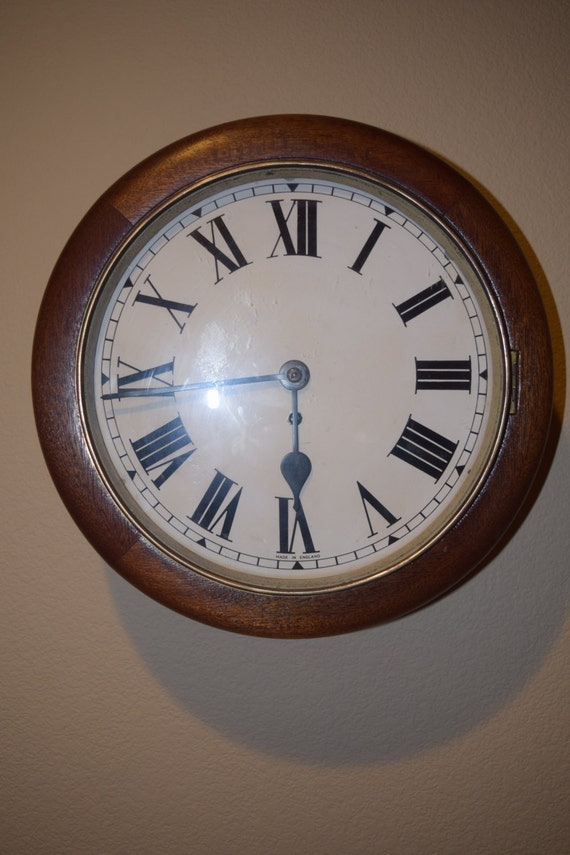 Antique English Fusee Wall Clock Mint Condition By Myclockshop