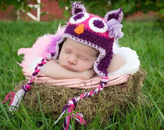 FREE SHIPPING! Adorable owl hat! Photo prop Sizes newborn-child