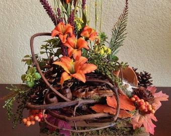 Forest Inspired Flower Arrangement in Handmade Wood Container