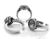 1pcs Ancient Style, 925 Sterling Silver Ring Setting for 10mm Cabochon, Very rich and beautiful ring, Made in Israel, 2022as, US Sise 7