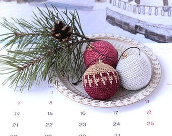 Set of 3 Crocheted colorful Balls. Girl room decor. HolidayOrnament. Crochet for home. Desk home decor Crocheted decoration.