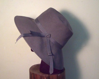 60's, 70's, Grey Wool Felt Wide Brimmed Hat, Henry Pollack, Size Medium