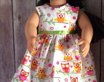"18"" Doll, American Doll **Clothes **Dress**Pink Owls on a Branch**"