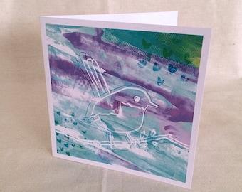 Greeting Card Blue Wren Bird Print Card
