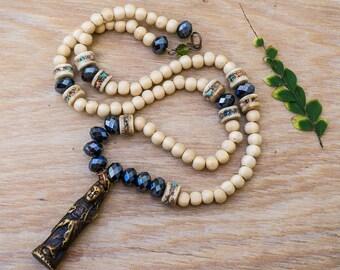 Kwan Yin Necklace, Buddism Jewelry, Goddes Amulet, Zen Jewelry, Talisman Necklace, Wood Necklace, Crystal Necklace, Boho