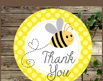 Bee Baby Shower Favor Tags, Printable Yellow Bumble Bee, Baby Shower Thank You Favor Tag, Instant Download, Bee Baby Shower Cupcake Topper